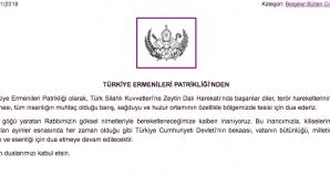 Armenian Patriarchate of Turkey prays for the Turkish Army