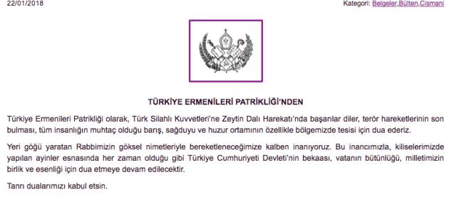 Türkiye Ermeni Patrikliği, Türk Askeri İçin Dua Etti