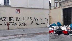 Racist Writing on the Church Wall in Kadıköy