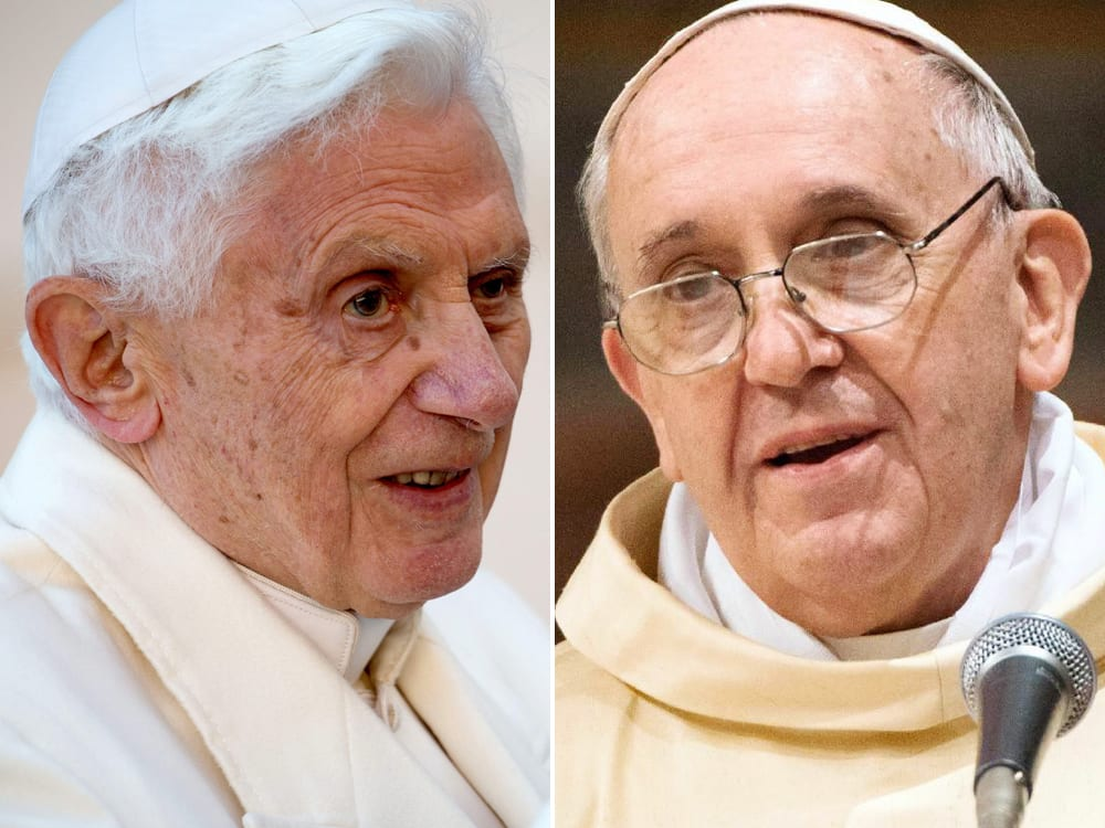 Left: Pope Benedict; Right: Pope Francis