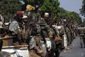 Soldiers from the Chadian contingent of the Central African Multinational Force patrol in Damara