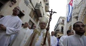 Cuba's Catholic Church leader Cardinal Jaime Ortega takes part in  the annual procession of Our Lady of Charity, the patron saint of Cuba in Havana