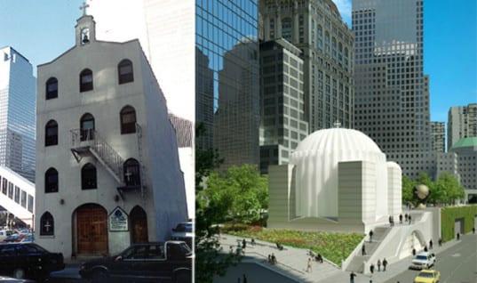 Solda yıkılan kilise, sağda inşaatına başlanan kilisenin çizimi