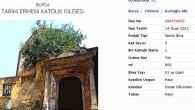 Tarihi Bursa Ermeni Katolik Kilisesi Satışa Çıkarıldı